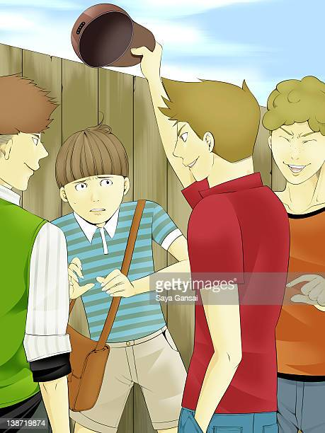 bullies taking a hat off a boy - sneering stock illustrations, clip art, cartoons, & icons