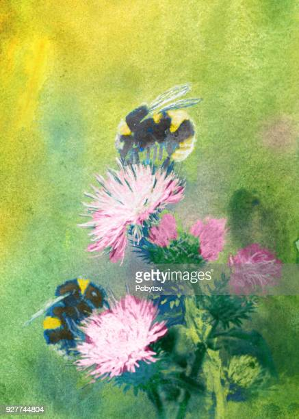bumblebees on flowers watercolor - bumblebee stock illustrations, clip art, cartoons, & icons