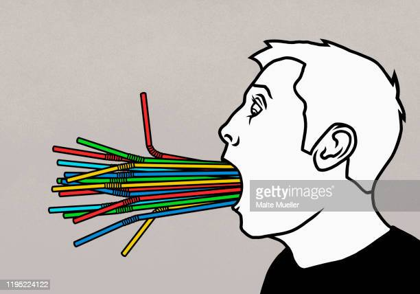 bunch of plastic, multicolor straws stuffed in mans mouth - consumerism stock illustrations