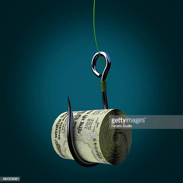 ilustraciones, imágenes clip art, dibujos animados e iconos de stock de bundle of indian five hundred rupee notes on a fishing hook - fajo de billetes