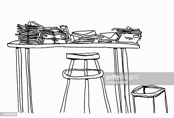 bundles of letters on table - letter stock illustrations