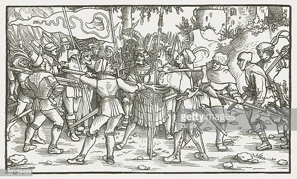 bundschuh movement (1493-1517), wood engraving, published in 1881 - high renaissance stock illustrations
