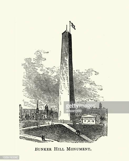 bunker hill monument, 19th century - bunker hill monument stock illustrations