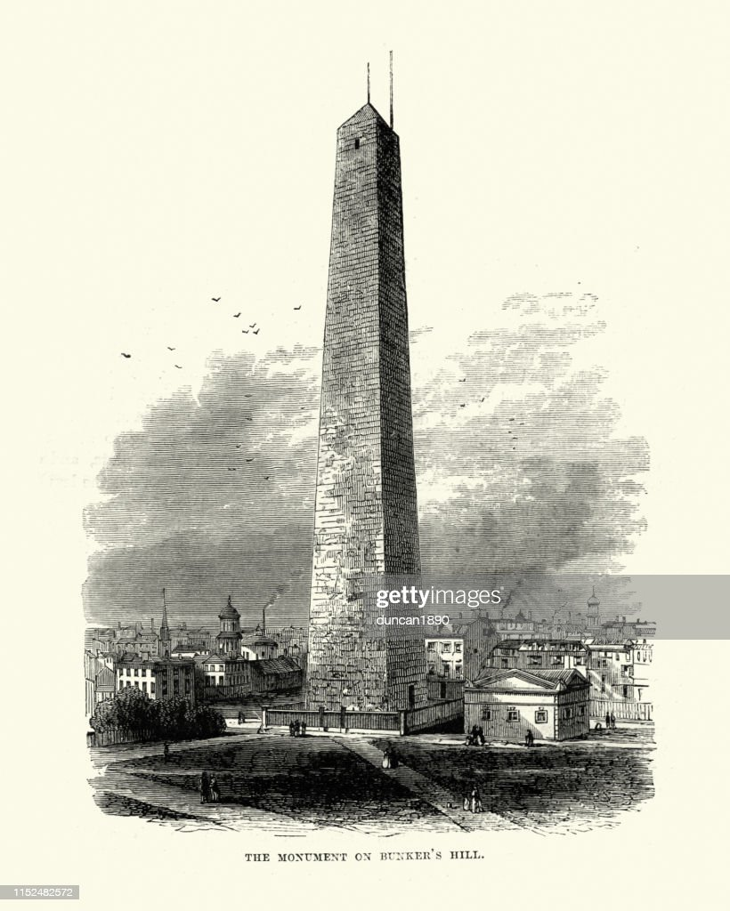 Bunker Hill Monument, Boston, Massachusetts, 19th Century : Ilustración de stock