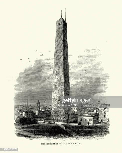 bunker hill monument, boston, massachusetts, 19th century - bunker hill monument stock illustrations
