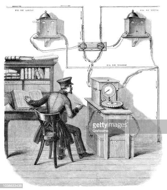 illustrations, cliparts, dessins animés et icônes de bureau de la télégraphie à strasbourg recevoir de message de paris - équipement de télécommunication