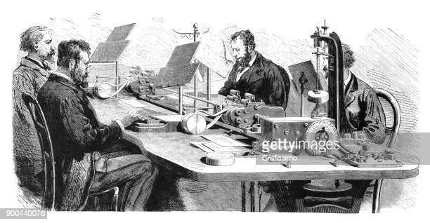 Bureau of telegraphy with multiple telegraph Paris France