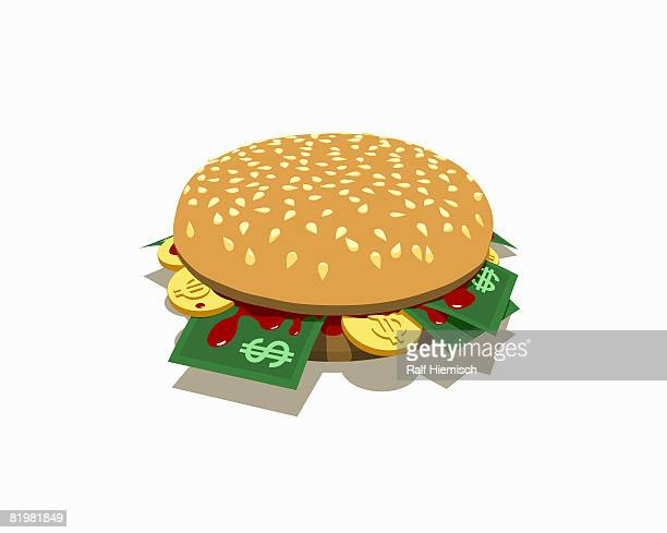 a burger with dollar banknotes and coins inside - temptation stock illustrations, clip art, cartoons, & icons