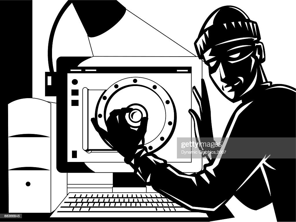 A burglar opening a safe that is a computer screen : stock illustration