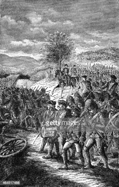 ilustraciones, imágenes clip art, dibujos animados e iconos de stock de burgoyne's army marchando de saratoga - american revolution