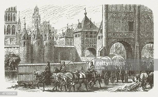 Burgtor (Castle Gate) Lubeck in 1400, wood engraving, published 1880