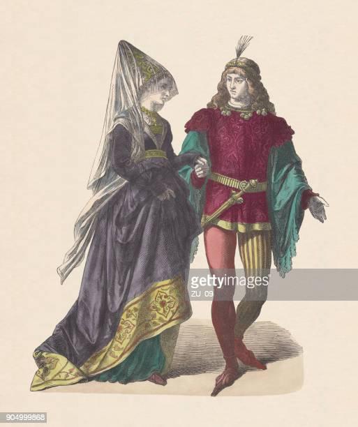 ilustrações, clipart, desenhos animados e ícones de borgonha tribunal traje, no início do século xv, xilogravura colorida à mão, publicado c.1880 - roupa tradicional