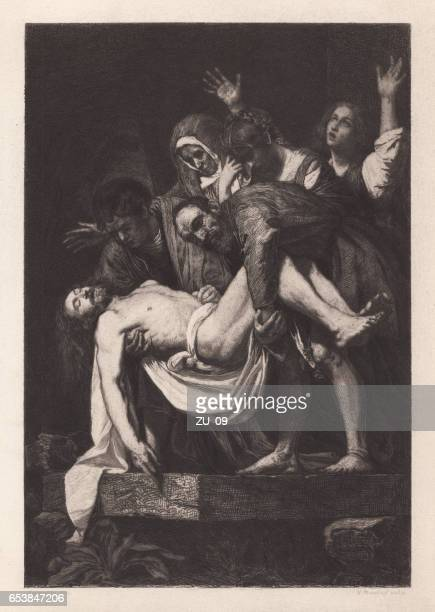 burial of christ, painted (1603-04) by caravaggio, vatican, published 1884 - jesus tomb stock illustrations