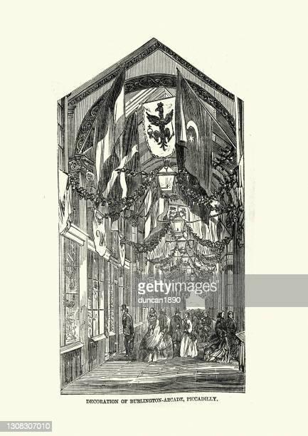 バーリントンアーケード、ピカデリー、1858年、19世紀、ビクトリア朝の屋根付きショッピングアーケードロンドン - セントラル・ロンドン点のイラスト素材/クリップアート素材/マンガ素材/アイコン素材