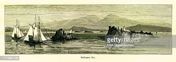 burlington bay, lake champlain, vermont   historic american illustrations - village stock illustrations