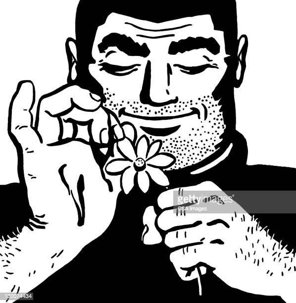 Burly Man Picking Petals off Flower