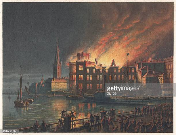 Burning Academy in Düsseldorf in 1872, Lithograph, published in 1873