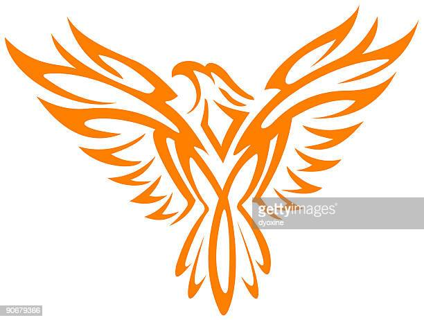 burning eagle - falcon bird stock illustrations, clip art, cartoons, & icons