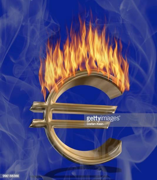 Burning euro symbol, illustration