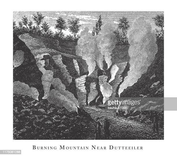 burning mountain near dutteeiler, caves, icebergs, lava and rock formations engraving antique illustration, published 1851 - isle of staffa stock illustrations, clip art, cartoons, & icons
