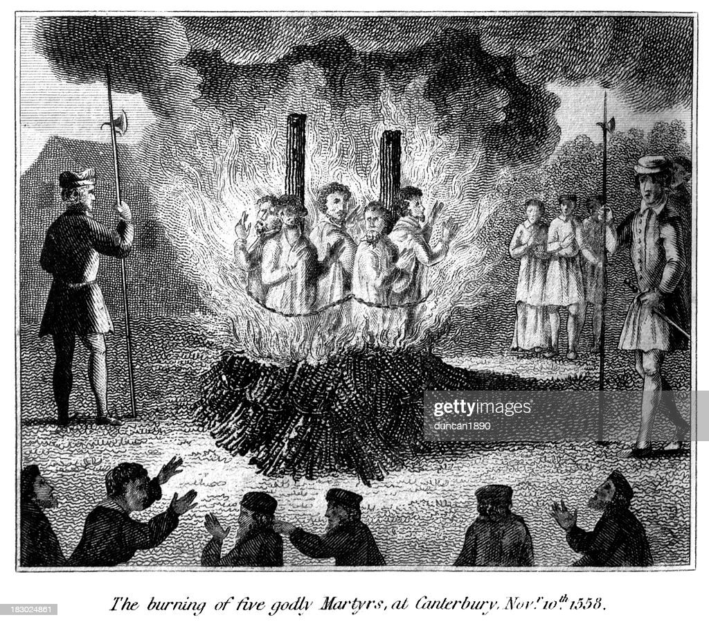 Burning of five godly martyrs at Canterbury : stock illustration
