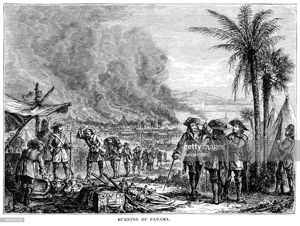 Burning of Panama : stock illustration