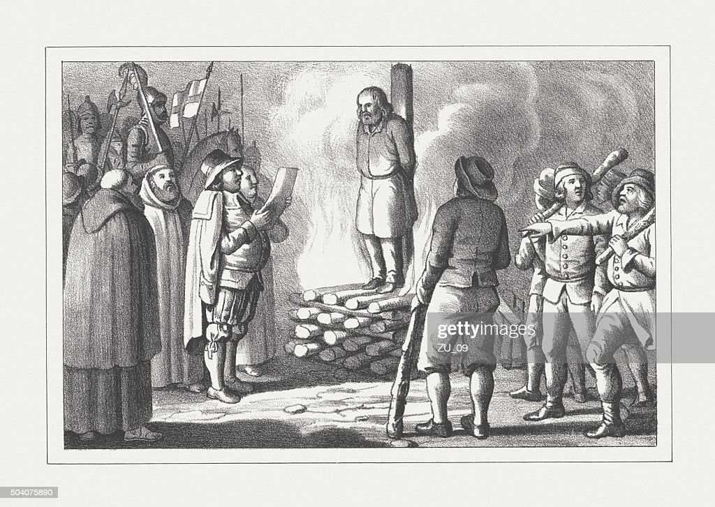 Burning of the heretic at the stake, lithograph, published 1850 : stock illustration