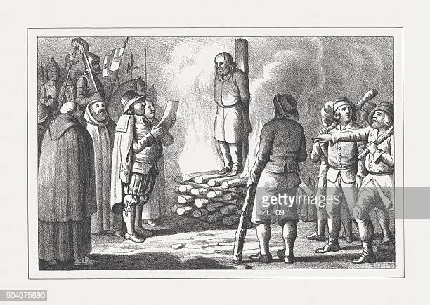 Burning of the heretic at the stake, lithograph, published 1850