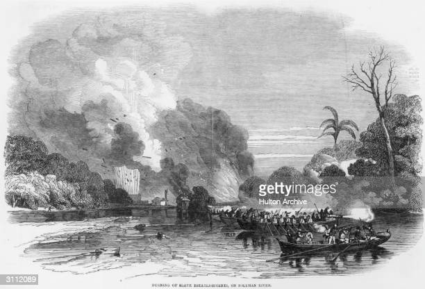 Burning of the home and factory of a slave owner, Don Jose Louis on the Solyman River a branch of the Gallinas River, Sierra Leone. Original...