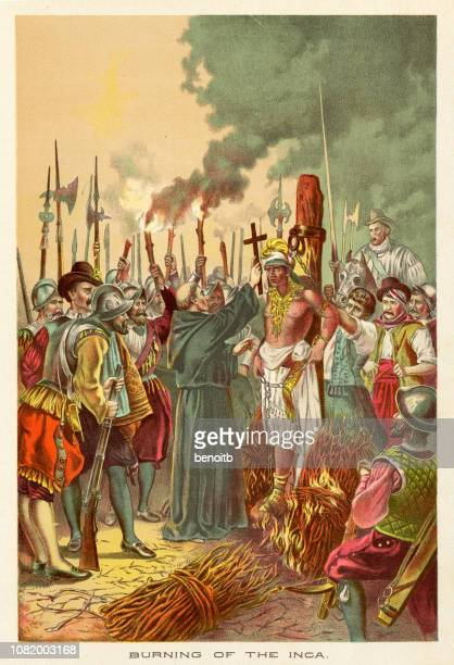burning of the inca - scanned 1890 engraving - inca stock illustrations, clip art, cartoons, & icons