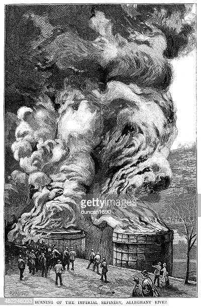 burning oil refinery, pennsylvania - burning stock illustrations, clip art, cartoons, & icons