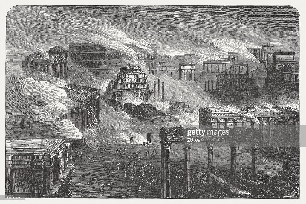 Burning Rome in 1084, published in 1878 : Stock Illustration