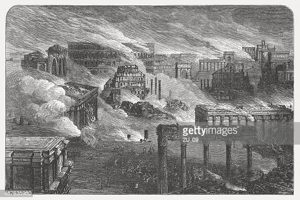 burning rome in 1084, published in 1878 - roman forum stock illustrations