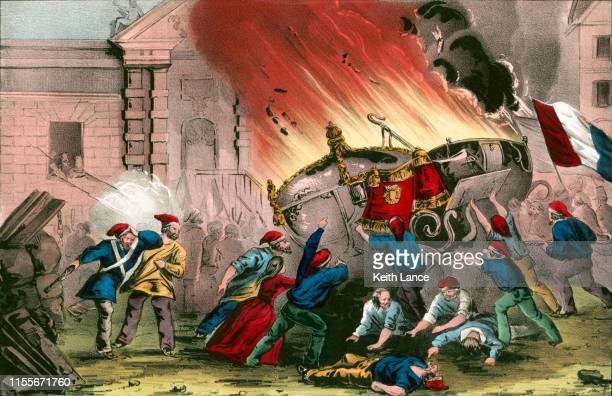burning the royal carriages at the chateau d'eu during the french revolutionof 1848 - revolution stock illustrations