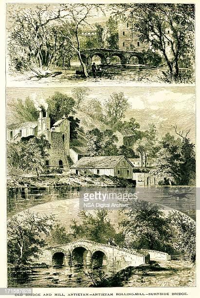 Burnside's Bridge near Maryland, wood engraving (1872)