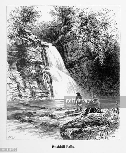 Bushkill Falls, Delaware River Water Gap, Pennsylvania, United States, American Victorian Engraving, 1872