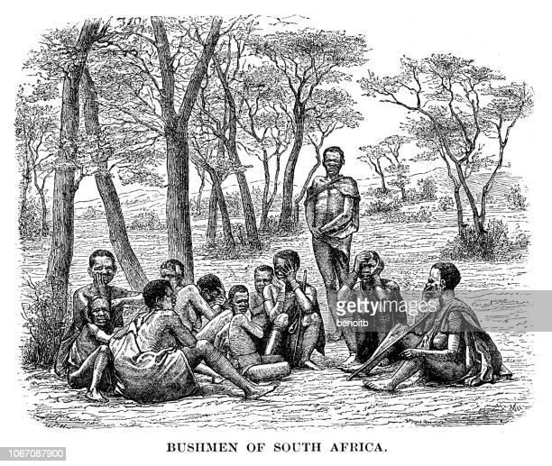 bushmen of south africa - 19th century stock illustrations, clip art, cartoons, & icons