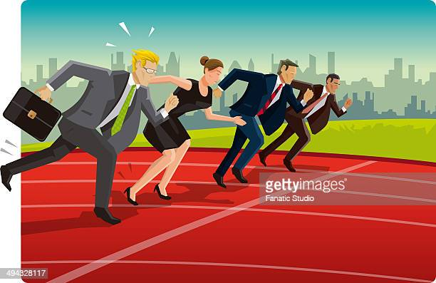 business competition - running track stock illustrations, clip art, cartoons, & icons
