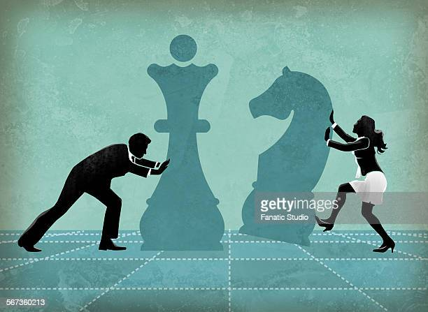 ilustraciones, imágenes clip art, dibujos animados e iconos de stock de business competitors playing chess striving for success - tablero de ajedrez