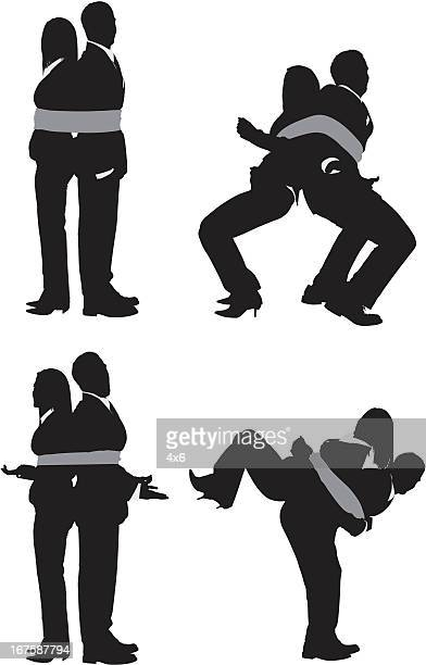 business couple tied up with rope - restraining stock illustrations