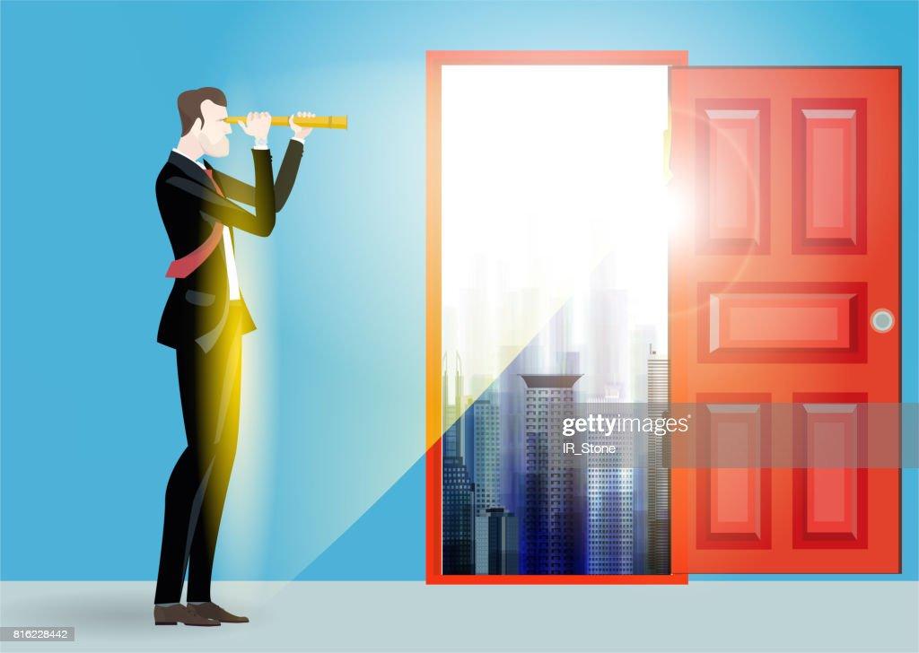 Open front door illustration Plain Business Man In The City In Front Of The Open Red Door Looking Through The Getty Images Business Man In The City In Front Of The Open Red Door Looking
