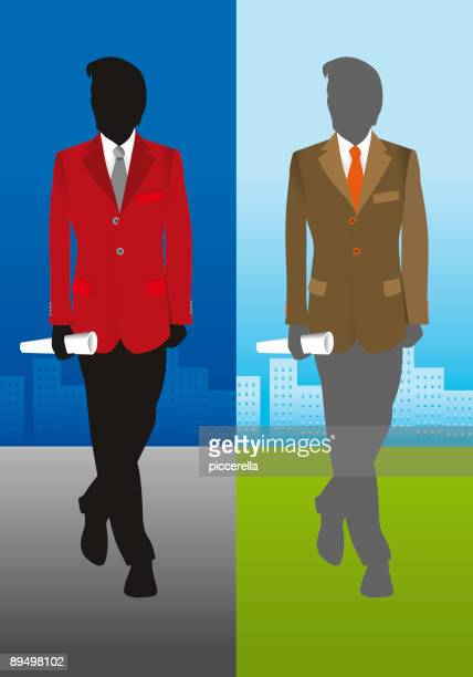 Business man silhouettes on a city background