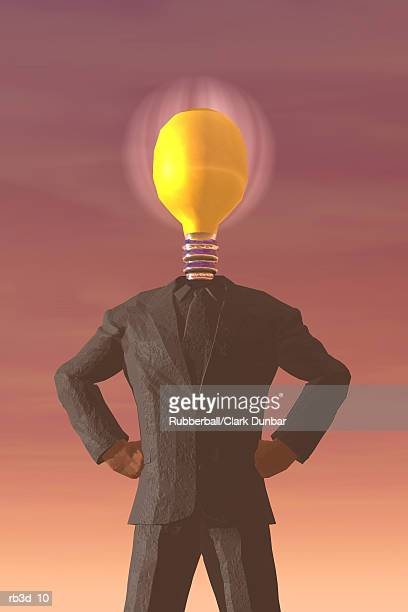 business man with a lightbulb for a head stands with arms at hips