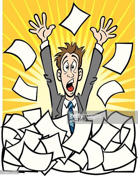 ilustraciones, imágenes clip art, dibujos animados e iconos de stock de un hombre de negocios con papeleo - impuesto sobre la renta