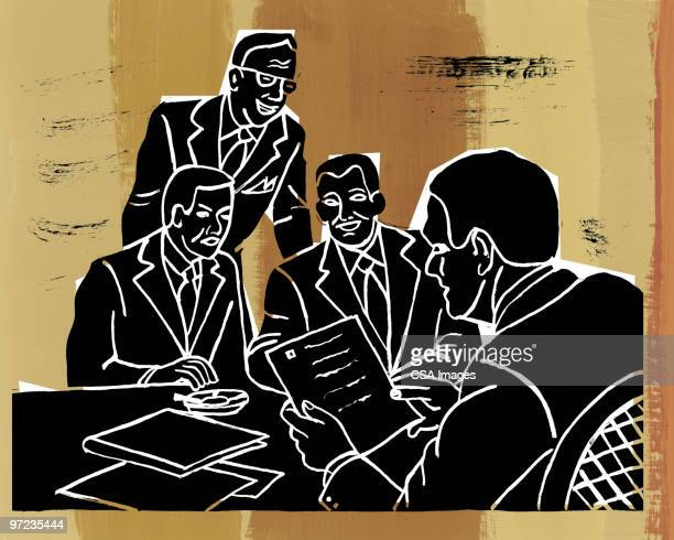 business meeting - paperwork stock illustrations
