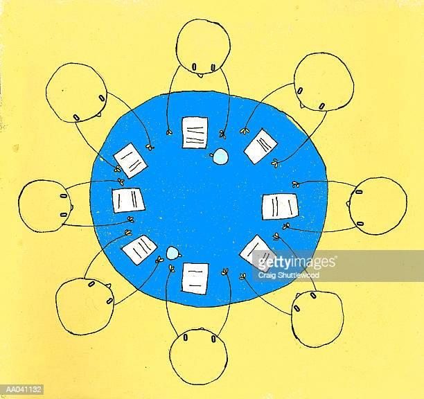 Business meeting, overhead view (Digital)