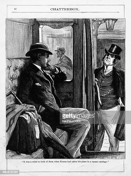 Business Men Travelling on a Train Victorian Engraving