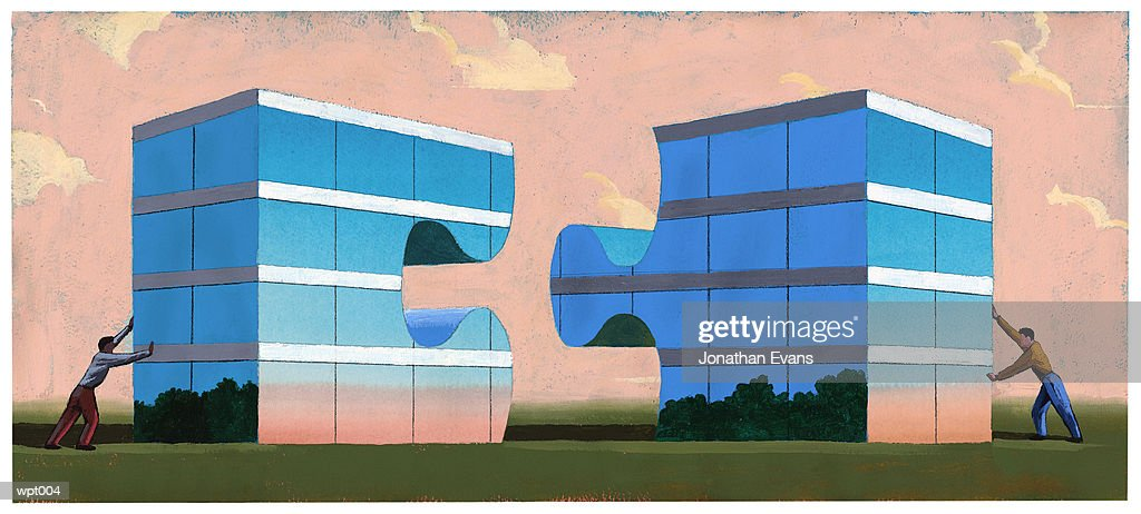 Business Merger : Stockillustraties