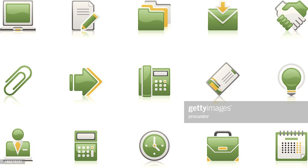 Business & Office icons - Green-Clean set