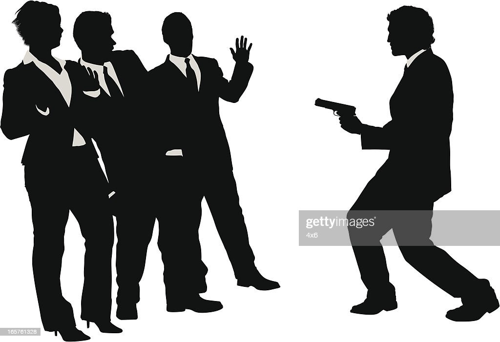Business people being held up by man with gun : stock illustration
